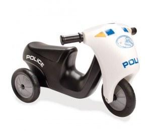 Dantoy Politiscooter med gummihjul - Svart og hvit