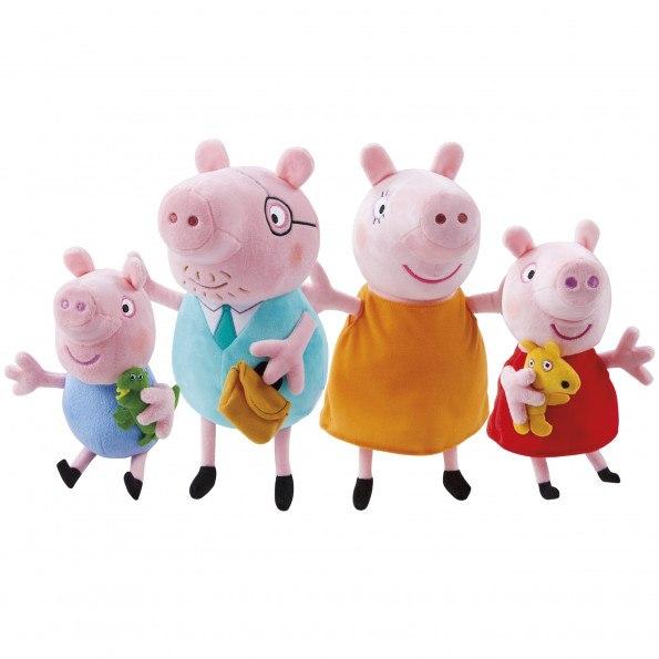 Peppa Gris og familien hennes bamser