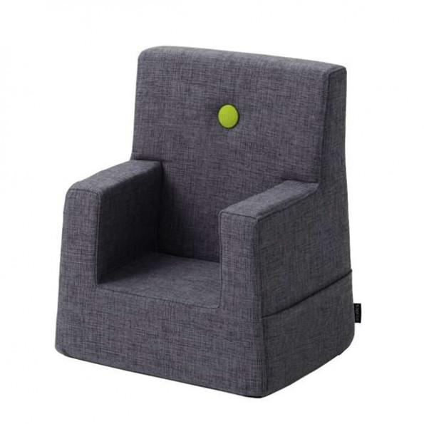 by KlipKlap Kids Chair XL - Blågrå m/ Grønn Knapp