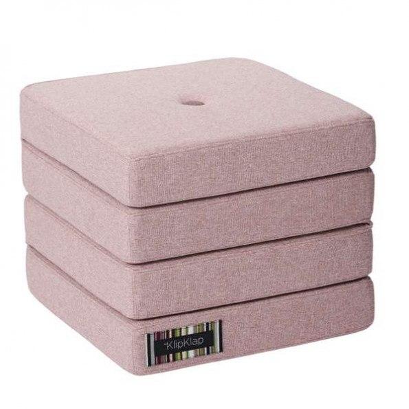 By Klipklap KK 4 Fold madrass - Soft rose med rose knapper