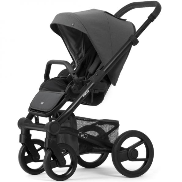 Mutsy NIO steel, klappvognssete og babybag - Grå/sort