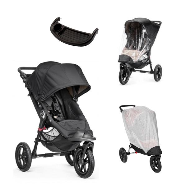 Baby Jogger City Elite Svart + Regntrekk, Insektnett og Bakkebord