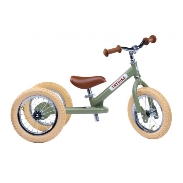 TRYBIKE Vintage Balansesykkel m/ 3 Hjul - Grønn
