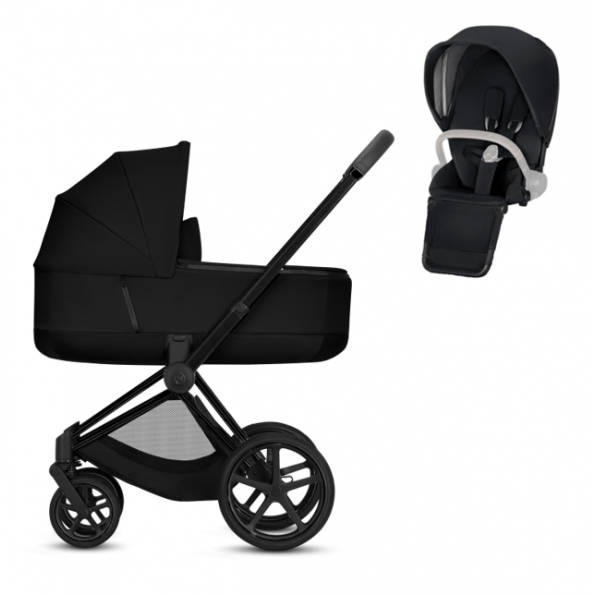 Cybex Priam steel inkl. sete + Priam Lux Carry Cot - Svart
