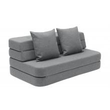 BY KLIPKLAP KK 3 fold sofa - Blågrå med grå knapper