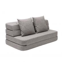 BY KLIPKLAP KK 3 fold sofa - Grå med grå knapper