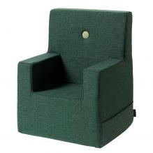 BY KLIPKLAP Barnestol XL - Mørkegrønn m grønn knapp