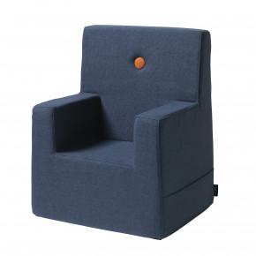 by KlipKlap Kids Chair XL - Mørk Blå m/ Oransje Knapp