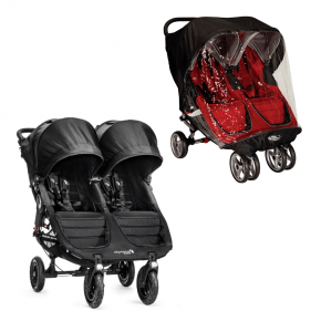 Baby Jogger City Mini GT Double - Svart + Regntrekk