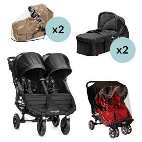 Baby Jogger City Mini GT Double - Svart + 2x Kompakt Pram, 2x Regntrekk til Pram og Regntrekk