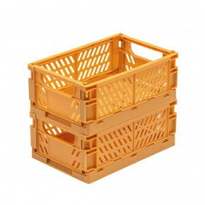 TINY REPUBLIC 2 stk. Sammenleggbare kasser medium - sennep