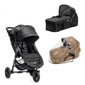 Baby Jogger City Mini GT - Svart + Kompakt Pram og Regntrekk til Pram