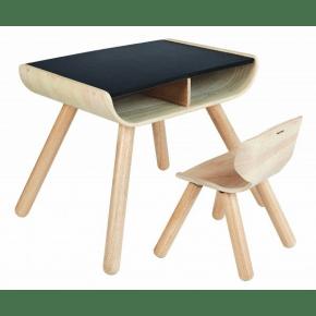 PlanToys Barnebord og stol i tre - Svart