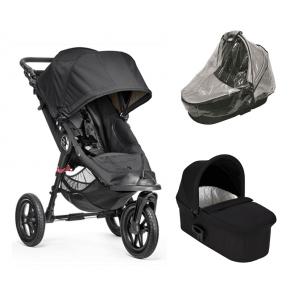 Baby Jogger City Elite Svart + Svart Deluxe Pram babybag og Regntrekk til Pram