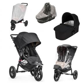 Baby Jogger City Elite Svart + Svart Deluxe Pram, Regntrekk til Pram, Regntrekk og Insektnett