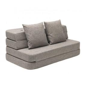 BY KLIPKLAP KK 3 Fold Sofa XL - grå med grå knapper